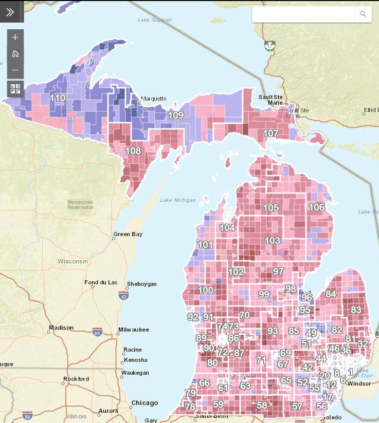 Michigan Political Map Maps   Michigan Political Almanac Maps